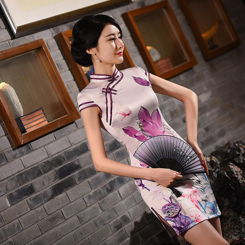 9667e624fed0 Čínské šaty cheongsam s lotus fialové