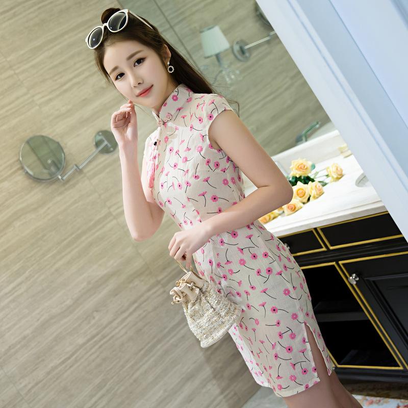 25bc26378e09 Čínské šaty cheongsam s malými květy empty