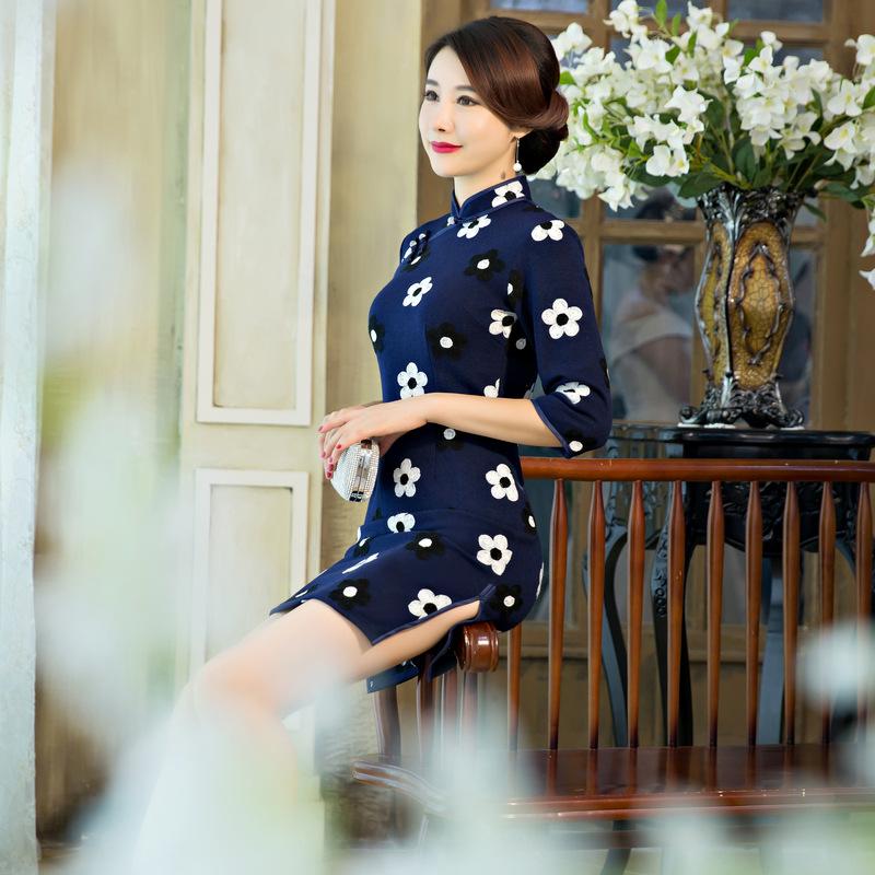 963c03b910a7 Čínské šaty cheongsam (Vyšívané malé bílé květy) empty