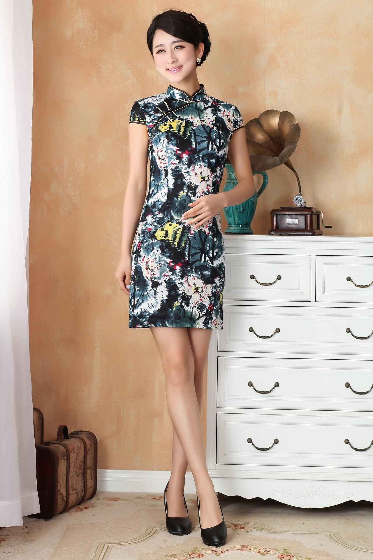 Čínské šaty cheongsam s lotosem 9d6aae643e